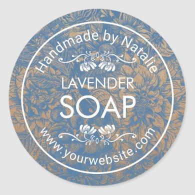 Handmade Soap Making Vintage Blue Floral Kraft Classic Round Sticker