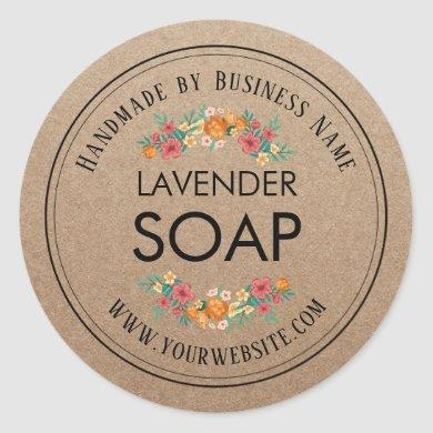 Handmade Soap Making Vintage Floral Rustic Kraft Classic Round Sticker