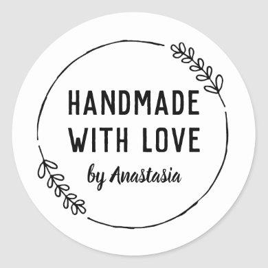Handmade with Love Personalized Doodle Wreath Classic Round Sticker