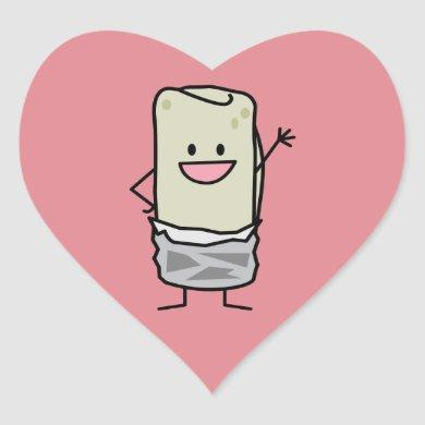 Happy Burrito Waving Hello Heart Sticker