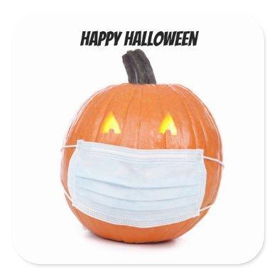 Happy Halloween Pumpkin in Coronavirus Face Mask Square Sticker