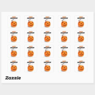 Happy Halloween Pumpkin With Toilet Paper Humor Square Sticker