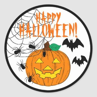 Happy Halloween With Pumpkin Spiders and Bats Classic Round Sticker