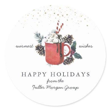 Happy Holidays   Classic Hot Chocolate Christmas Classic Round Sticker