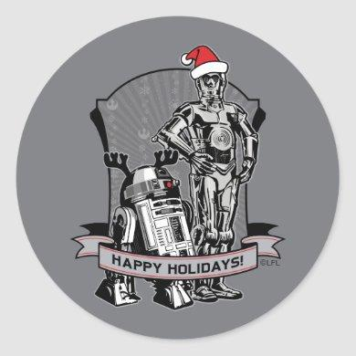 Happy Holidays From R2-D2 & C-2PO Classic Round Sticker