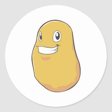 Happy Potato Smiling Classic Round Sticker