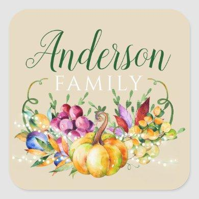 Harvest Bouquet Family Name Fall Square Sticker