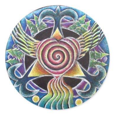 Heart Spirit Bird Mandala Sticker