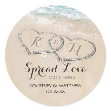 Hearts in Sand Hand Sanitizer Wedding Favor Classic Round Sticker