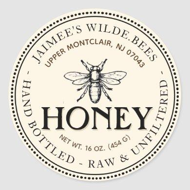 Heraldic Bee Raw Hand Bottled Honey Editable Label