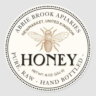 Heraldic Bee Raw Hand Bottled Honey Sticker