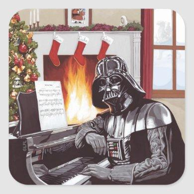 Holiday Darth Vader Warm By The Hearth Square Sticker