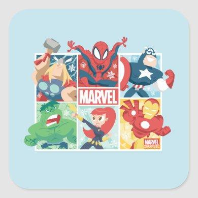 Holiday Marvel Hero Panel Graphic Square Sticker
