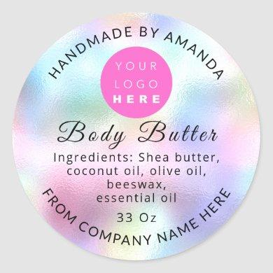Holograph Custom Logo Name Body Butter Cosmetics Classic Round Sticker