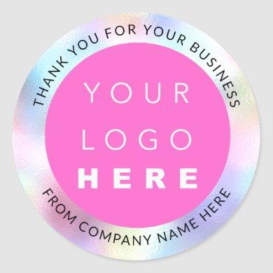 Holograph Custom Logo Name Web Pink Thank You Classic Round Sticker