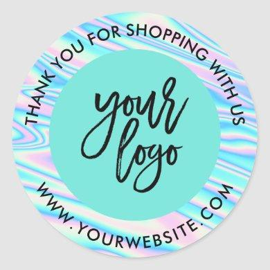 Holograph rainbow custom logo name teal thank you classic round sticker