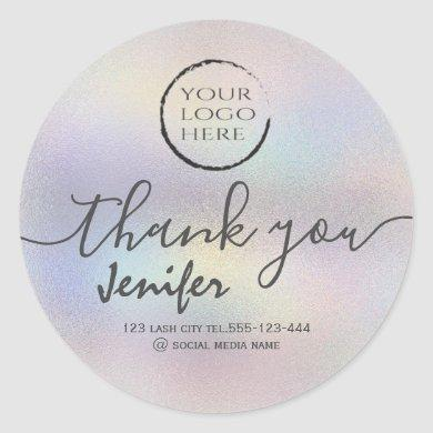 holographic  logo script thank you classic round sticker