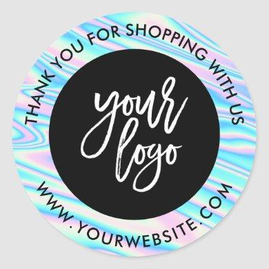Holographic rainbow custom logo black thank you classic round sticker