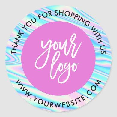 Holographic rainbow custom logo pink thank you classic round sticker