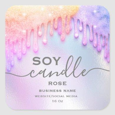 Holographic sparkle drips script soy candle label