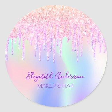 Holograpic unicorn glitter drip glam makeup hair classic round sticker