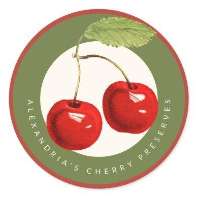 Homemade Cherry Preserves or Jam Classic Round Sticker