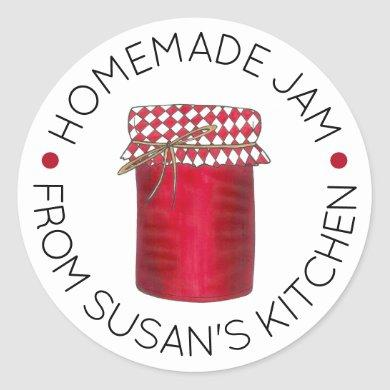 Homemade Jam Jelly Fruit Preserves Made By Kitchen Classic Round Sticker