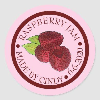 Homemade Raspberry Jam Jelly Preserves Canned By Classic Round Sticker