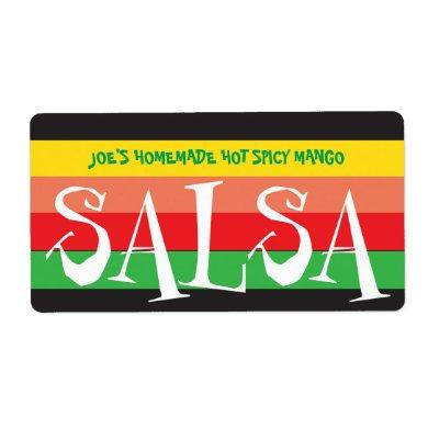 Homemade Salsa colorful stripes Label