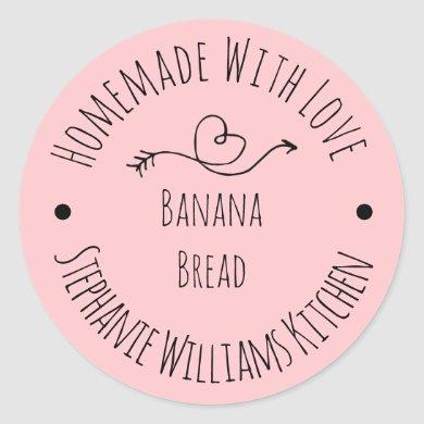 Homemade with Love  Blush Pink Heart | Baked Goods Classic Round Sticker