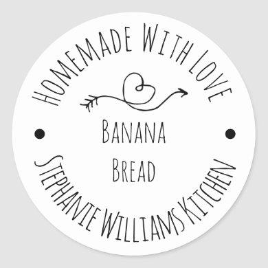 Homemade with Love Heart and Arrow  |  Baked Goods Classic Round Sticker