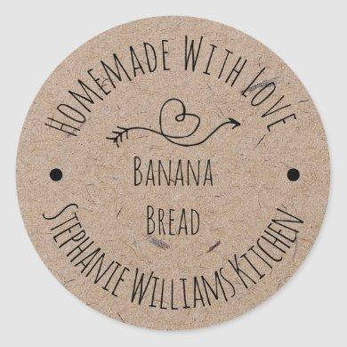 Homemade with Love Kraft Paper |  Baked Goods Classic Round Sticker