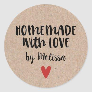 Homemade With Love Kraft Personalized Classic Round Sticker