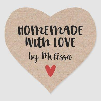 Homemade With Love Kraft Personalized Heart Sticker