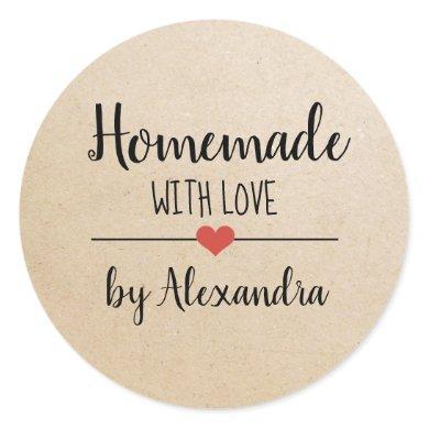 Homemade with love kraft script custom  classic round sticker