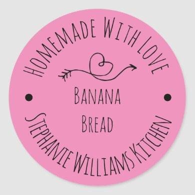 Homemade with Love Pink Heart    Baked Goods Classic Round Sticker