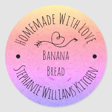 Homemade with Love Rainbow Kraft Paper |  Baking Classic Round Sticker