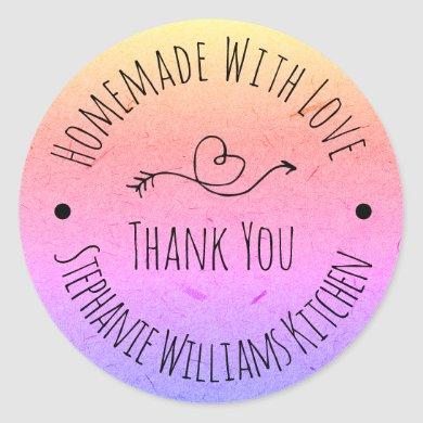 Homemade with Love | Rainbow Kraft Paper Thank You Classic Round Sticker