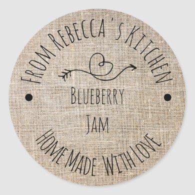 Homemade with Love Rustic Burlap Jam Canning Label