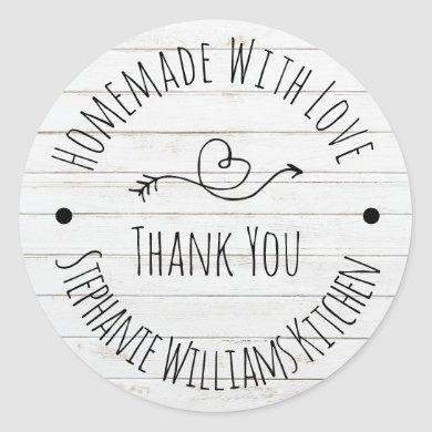 Homemade with Love | White Wash Wood Thank You Classic Round Sticker