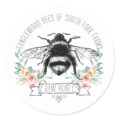 Honey Bee Apiary Honey Jar Label l Pink Floral