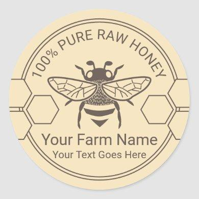 Honey Jar Bee Honey Apiary Beekeeper Farm Classic Round Sticker