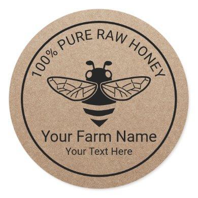 Honey Jar Fresh Honey Bee Apiary Beekeeper Classic Round Sticker
