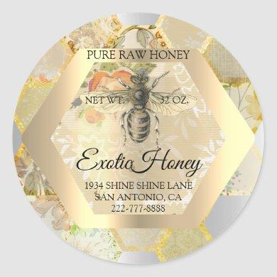Honey Jar Honeybee Honeycomb Bee Apiary Logo Classic Round Sticker