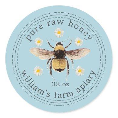 Honey Jar Label Honeybee Apiary Blue