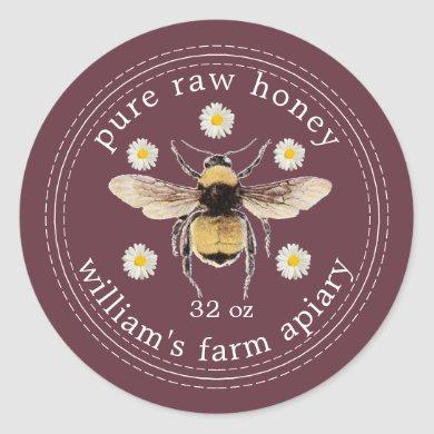 Honey Jar Label Honeybee Apiary Burgundy
