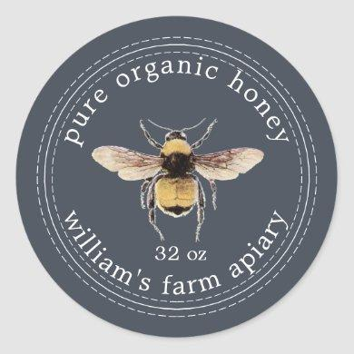 Honey Jar Label Honeybee Apiary Dark Blue