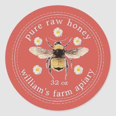 Honey Jar Label Honeybee Apiary Fall Red