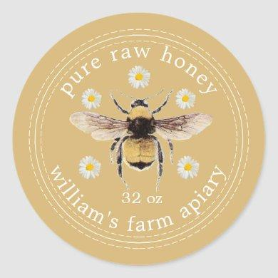 Honey Jar Label Honeybee Apiary Fall Yellow