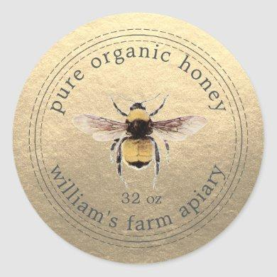 Honey Jar Label Honeybee Apiary Gold